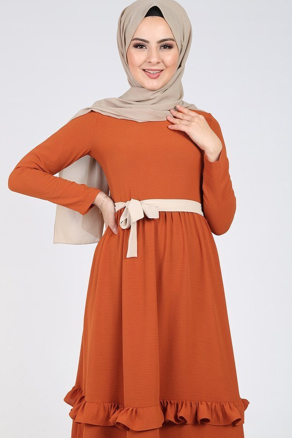 Fırfır Detaylı Elbise 5755-1
