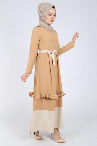 Fırfır Detaylı Elbise 5755-2 - Thumbnail