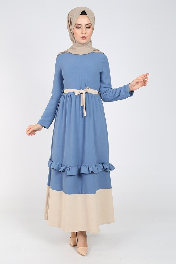 Fırfır Detaylı Elbise 5755-3