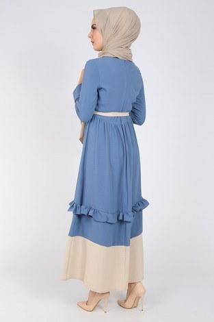 Fırfır Detaylı Elbise 5755-3 - Thumbnail