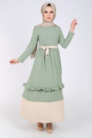 - Fırfır Detaylı Elbise 5755-5