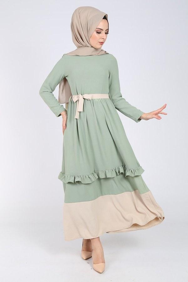 Fırfır Detaylı Elbise 5755-5