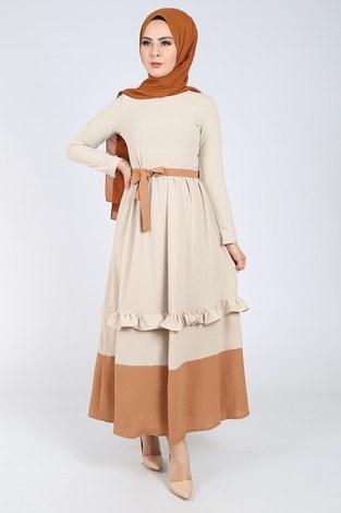 Fırfır Detaylı Elbise 5755-6 - Thumbnail