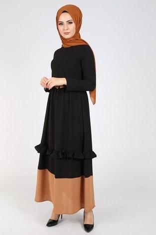 Fırfır Detaylı Elbise 5755-7 - Thumbnail