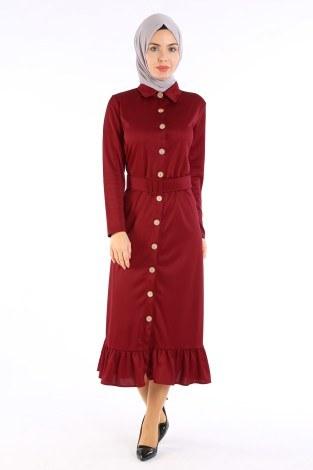 - Fırfır Tahta Düğmeli Elbise Kap 1600-02