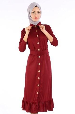Fırfır Tahta Düğmeli Elbise Kap 1600-02 - Thumbnail