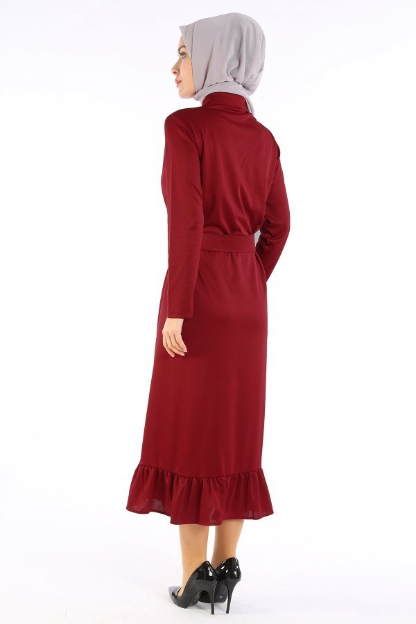 Fırfır Tahta Düğmeli Elbise Kap 1600-02