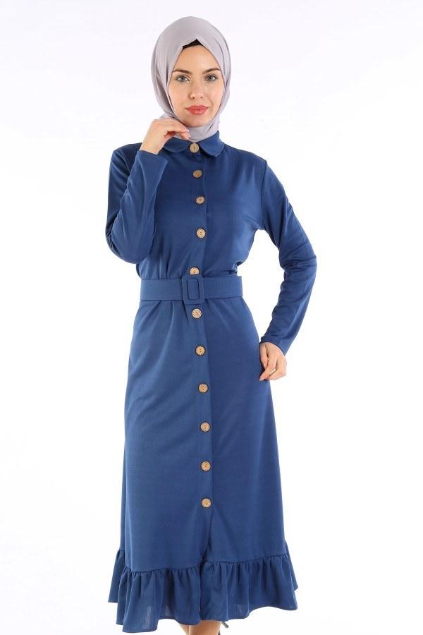 Fırfır Tahta Düğmeli Elbise Kap 1600-03