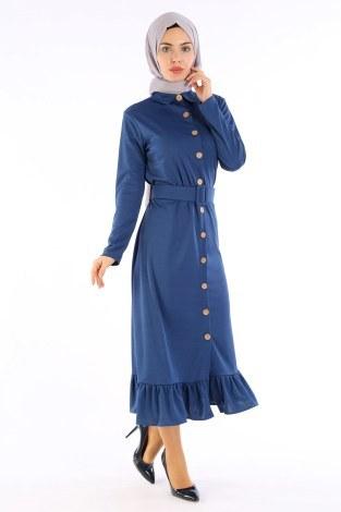Fırfır Tahta Düğmeli Elbise Kap 1600-03 - Thumbnail