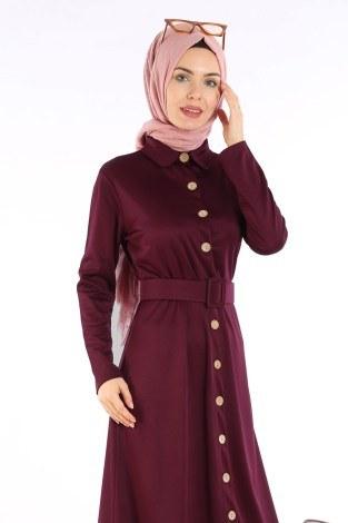 - Fırfır Tahta Düğmeli Elbise Kap 1600-04 (1)