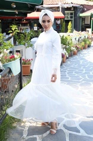 - Fırfırlı abiye elbise 83921-02