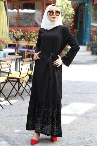 - Taş Detaylı Elbise 2098-01