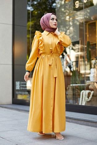 - Fırfırlı Boydan Düğmeli Elbise 3477-1 Sarı