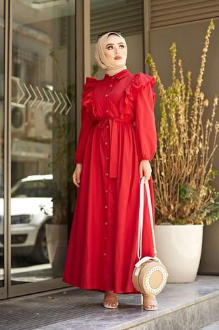 - Fırfırlı Boydan Düğmeli Elbise 3477-2 Kırmızı
