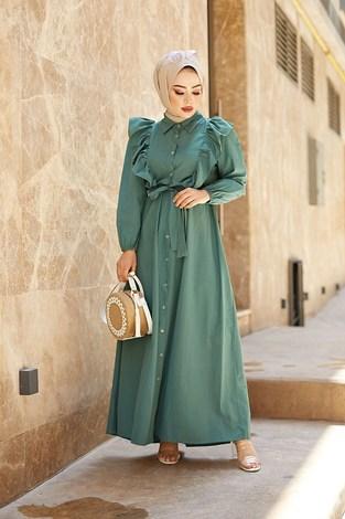 - Fırfırlı Boydan Düğmeli Elbise 3477-3 Haki