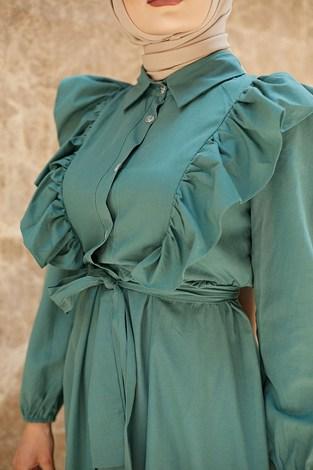 - Fırfırlı Boydan Düğmeli Elbise 3477-3 Haki (1)