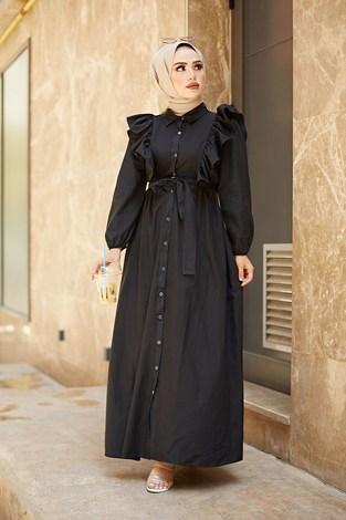 - Fırfırlı Boydan Düğmeli Elbise 3477-4 Siyah