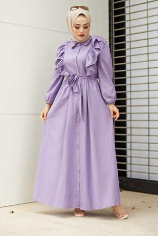 - Fırfırlı Boydan Düğmeli Elbise 3477-5 Lila