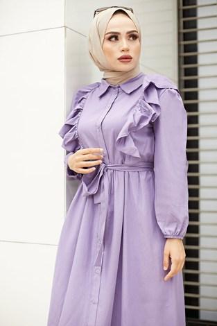 - Fırfırlı Boydan Düğmeli Elbise 3477-5 Lila (1)