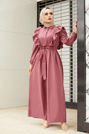 - Fırfırlı Boydan Düğmeli Elbise 3477-6 Gül K.