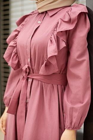 - Fırfırlı Boydan Düğmeli Elbise 3477-6 Gül K. (1)