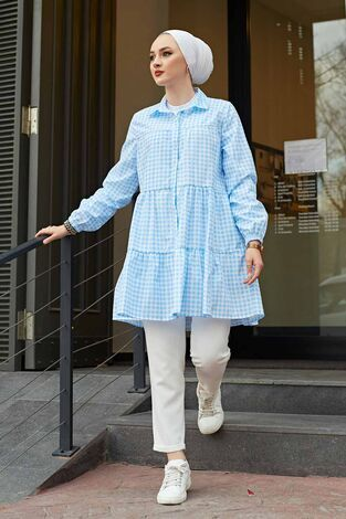 Fırfırlı Ekoseli Gömlek 100MD-10275 Mavi - Thumbnail