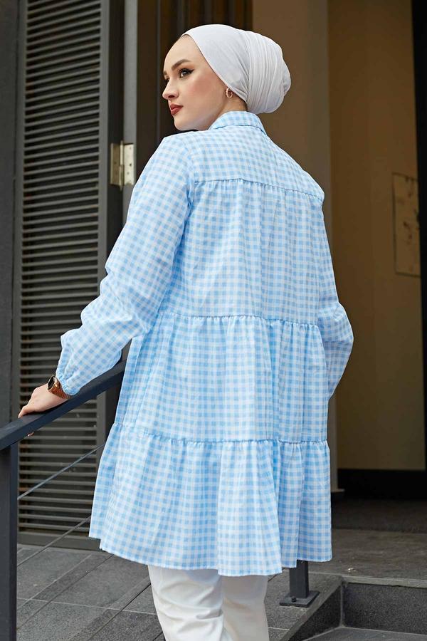 Fırfırlı Ekoseli Gömlek 100MD-10275 Mavi
