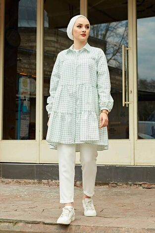 Fırfırlı Ekoseli Gömlek 100MD-10275 Mint - Thumbnail