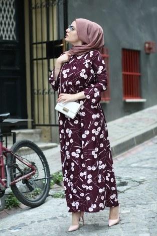 Fırfırlı Elbise 3085-27 - Thumbnail