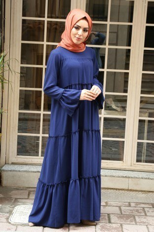 Fırfırlı Elbise 3085-47 - Thumbnail