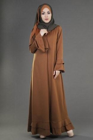 - Fırfırlı Ferace Elbise-7975-10