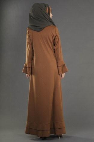 Fırfırlı Ferace Elbise-7975-10 - Thumbnail