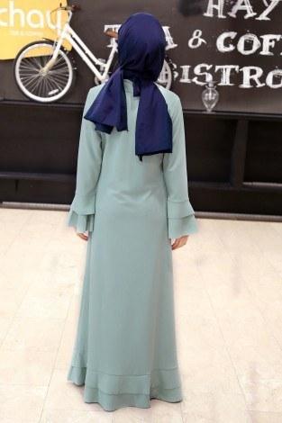 Fırfırlı Ferace Elbise-7975-12 - Thumbnail