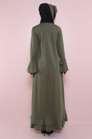 Fırfırlı Ferace Elbise-7975-2 - Thumbnail