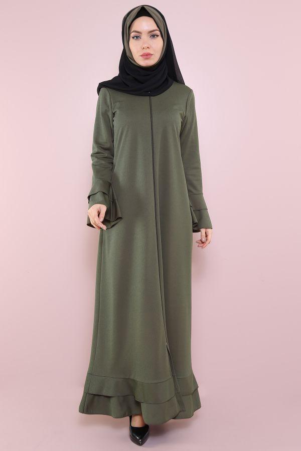 Fırfırlı Ferace Elbise-7975-2