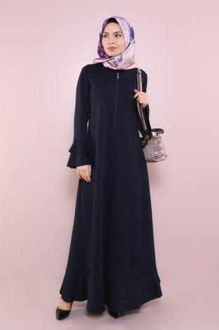 - Fırfırlı Ferace Elbise-7975-3 Lacivert