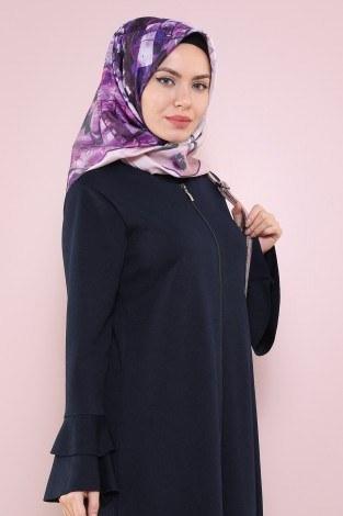 Fırfırlı Ferace Elbise-7975-3 Lacivert (1)
