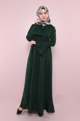 - Fırfırlı Ferace Elbise-7975-4