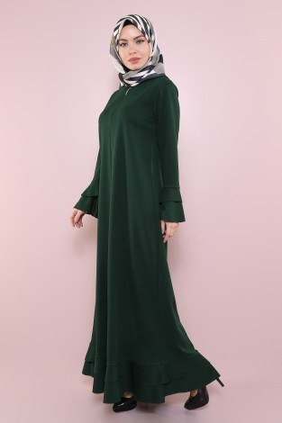 Fırfırlı Ferace Elbise-7975-4 - Thumbnail