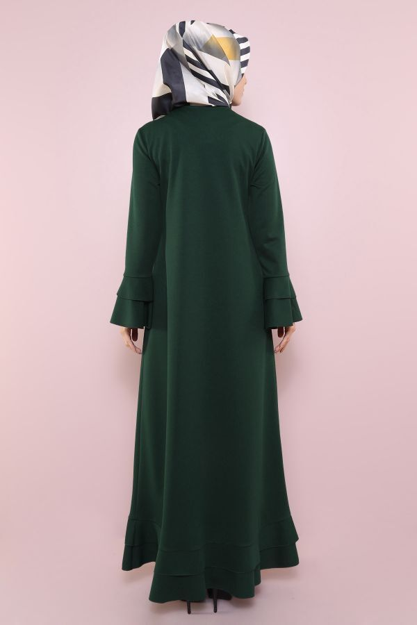 Fırfırlı Ferace Elbise-7975-4