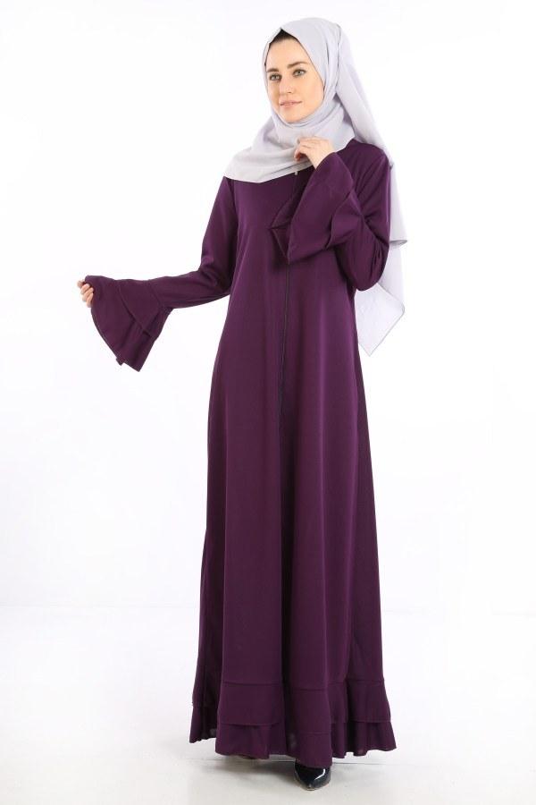 Fırfırlı Ferace Elbise-7975-8