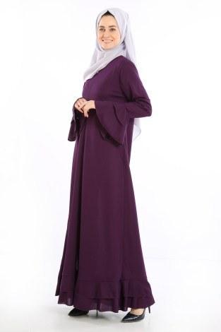 Fırfırlı Ferace Elbise-7975-8 - Thumbnail