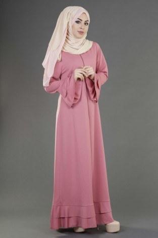- Fırfırlı Ferace Elbise-7975-9