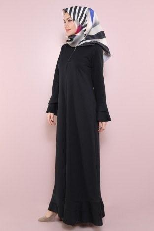Fırfırlı Ferace Elbise-7975-1Siyah - Thumbnail