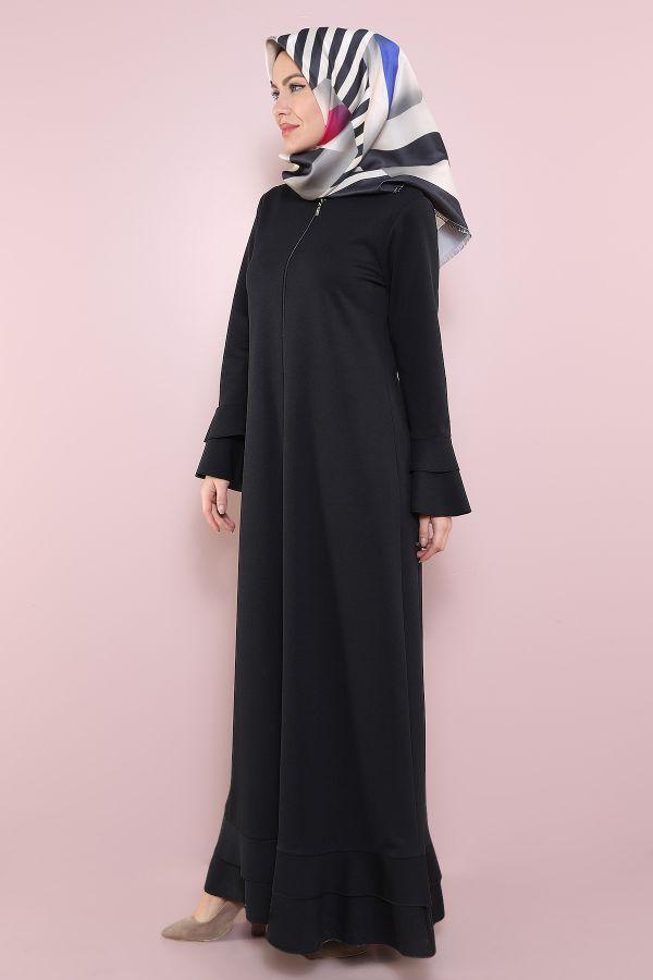 Fırfırlı Ferace Elbise-7975-1Siyah
