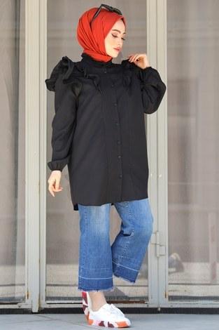 - Fırfırlı Gömlek Tunik 2591-1 Siyah