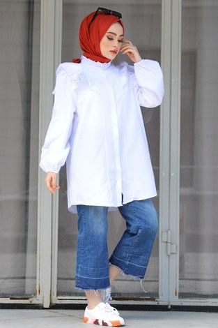 - Fırfırlı Gömlek Tunik 2591-2 Beyaz