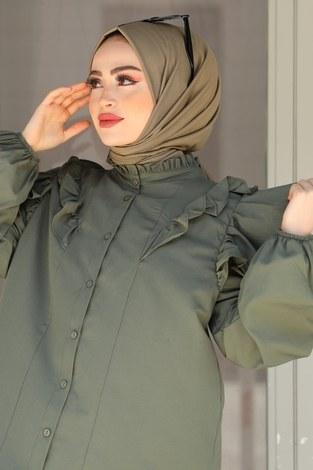 - Fırfırlı Gömlek Tunik 2591-3 Haki (1)