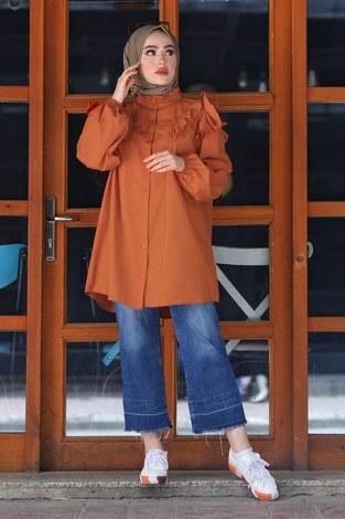 - Fırfırlı Gömlek Tunik 2591-6 Kiremit