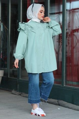 - Fırfırlı Gömlek Tunik 2591-7 Mint